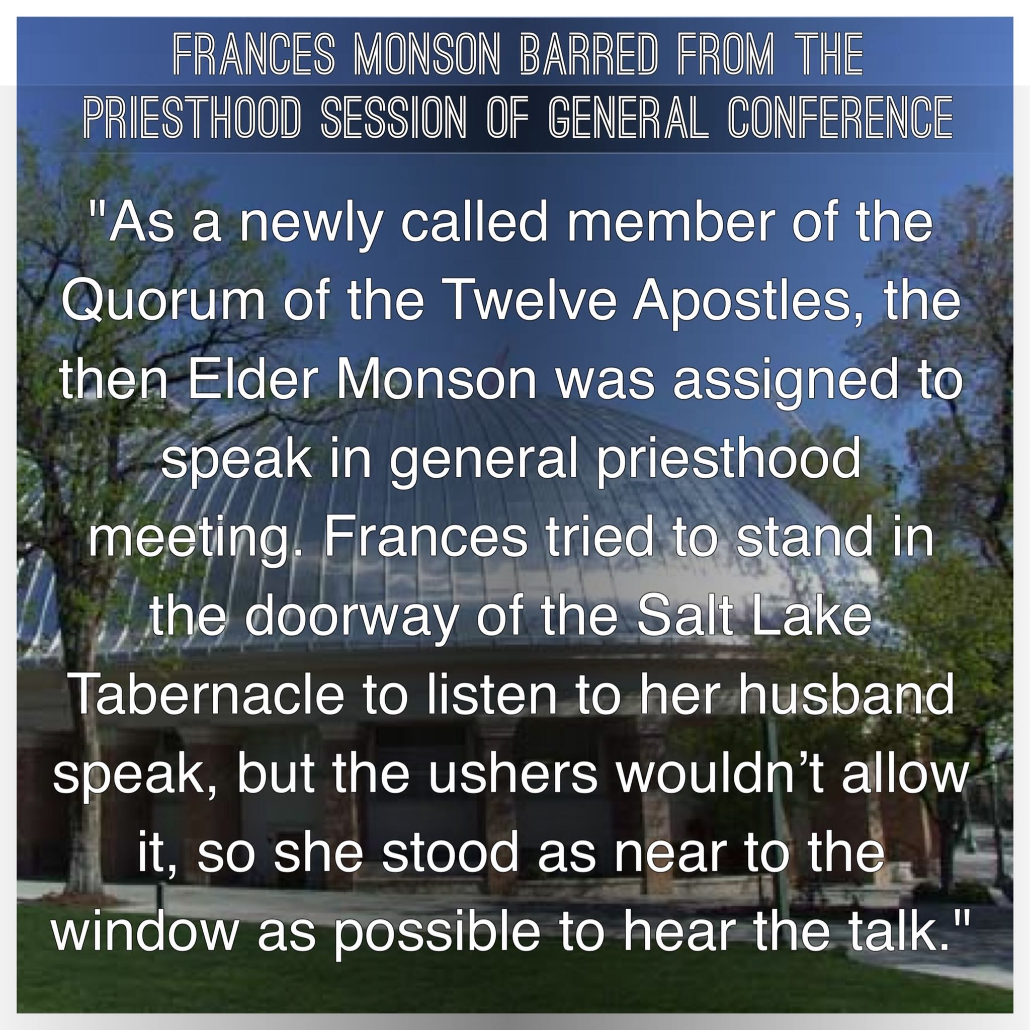 Frances Monson barred from conference